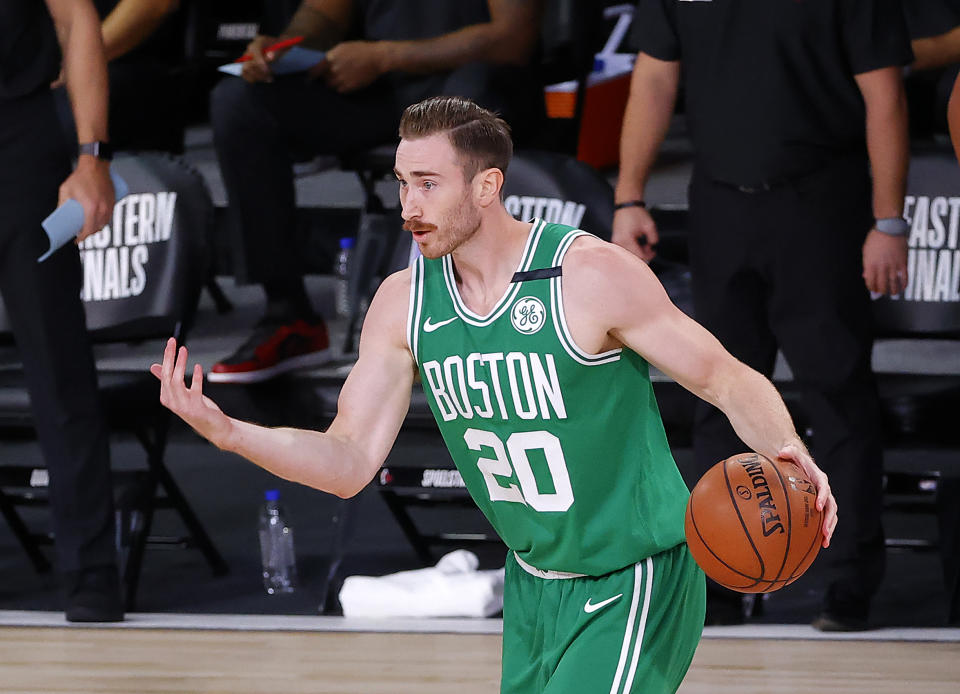 Gordon Hayward enjoyed a high-efficiency, low-usage bounce-back season with the Boston Celtics in 2019-20. (Kevin C. Cox/Getty Images)