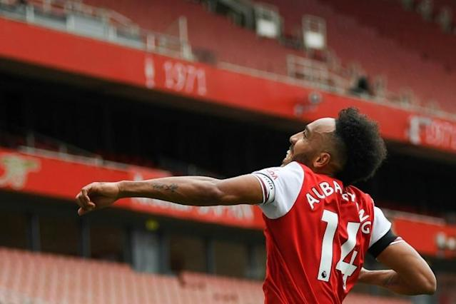 Pierre-Emerick Aubameyang is the fastest player to reach 50 Premier League goals for Arsenal (AFP Photo/Shaun Botterill)