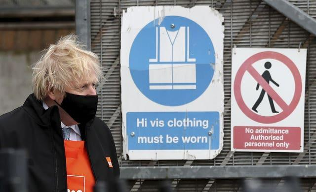 Boris Johnson visiting a B&Q store in Middlesbrough