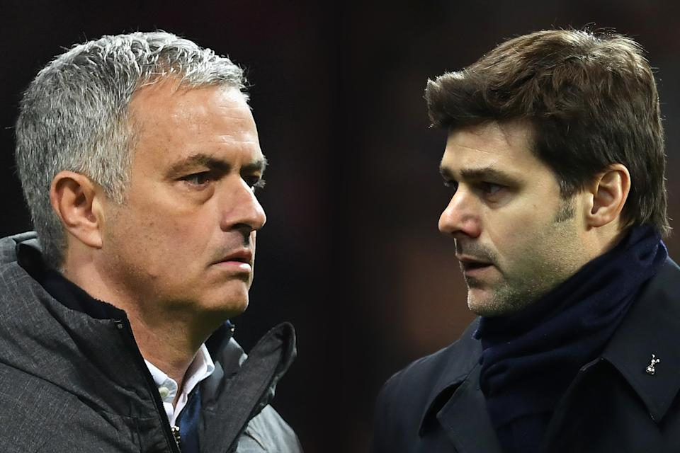 FILE PHOTO (EDITORS NOTE: GRADIENT ADDED - COMPOSITE OF TWO IMAGES - Image numbers (L) 670853046 and 632296086) In this composite image a comparision has been made between Jose Mourinho manager of Manchester United (L) and Mauricio Pochettino, Manager of Tottenham Hotspur. Manchester United and Tottenham Hotspur meet in a Premier League match on October 28, 2017 at Old Trafford in Manchester.  ****LEFT IMAGE*** MANCHESTER, ENGLAND - APRIL 20: Jose Mourinho manager of Manchester United looks on after the UEFA Europa League quarter final second leg match between Manchester United and RSC Anderlecht at Old Trafford on April 20, 2017 in Manchester, United Kingdom. Manchester United reach the semi-finals 3-2 on aggregate. (Photo by Laurence Griffiths/Getty Images) ***RIGHT IMAGE*** MANCHESTER, ENGLAND - JANUARY 21: Mauricio Pochettino, Manager of Tottenham Hotspur looks on during the Premier League match between Manchester City and Tottenham Hotspur at the Etihad Stadium on January 21, 2017 in Manchester, England. (Photo by Clive Mason/Getty Images)