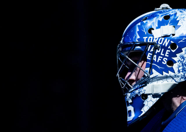 TORONTO, ON - FEBRUARY 7: Jack Campbell #36 of the Toronto Maple Leafs gets ready for the start of the second period against the Anaheim Ducks at the Scotiabank Arena on February 7, 2020 in Toronto, Ontario, Canada. (Photo by Mark Blinch/NHLI via Getty Images)