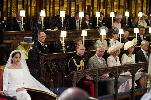 PHOTO: Meghan Markle, Queen Elizabeth II and Prince Philip sit in St George's Chapel, Windsor Castle for Markle's wedding to Britain's Prince Harry in Windsor, May 19, 2018. (Pool via AFP/Getty Images)