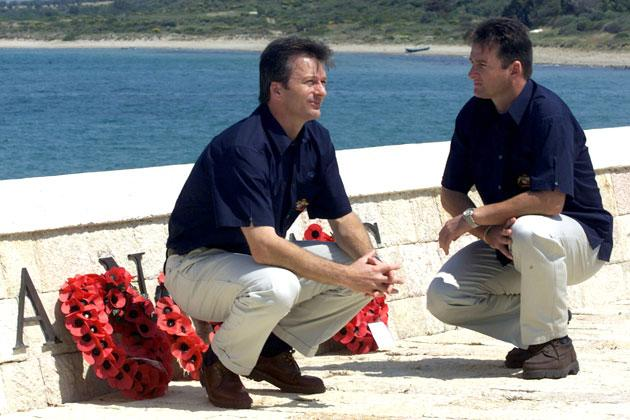 Steve (left) and Mark Waugh of Australia reflect on the ANZACs, at a monument at Anzac Cove during the  Australian team's visit to Gallipoli, on their way to England for the upcoming cricket tour, Istanbul, Turkey. X DIGITAL IMAGE MandatoryCredit: Hamish Blair/ALLSPORT
