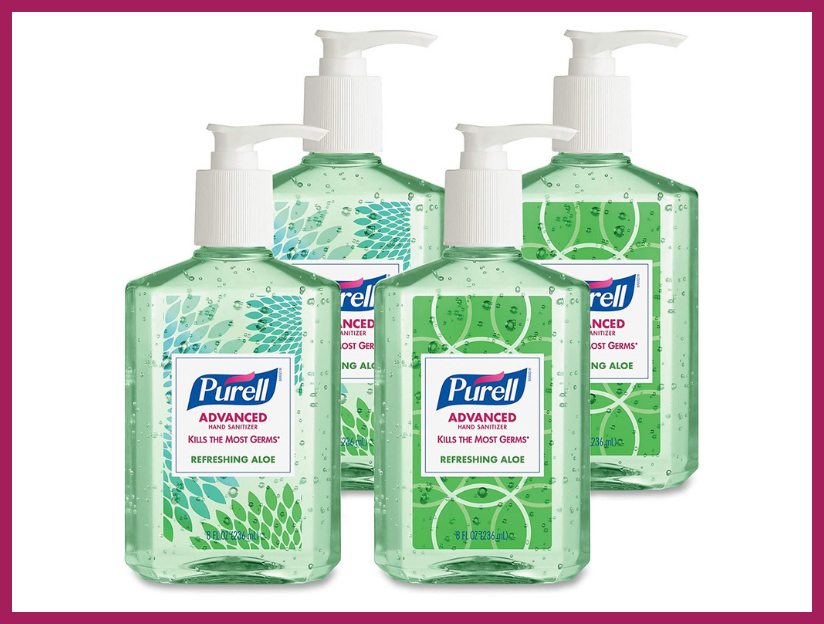 Purell Advanced Hand Sanitizer Soothing Gel, Fresh scent, with Aloe and Vitamin E , eight-ounce Pump Bottle (four-pack). (Photo: Amazon)