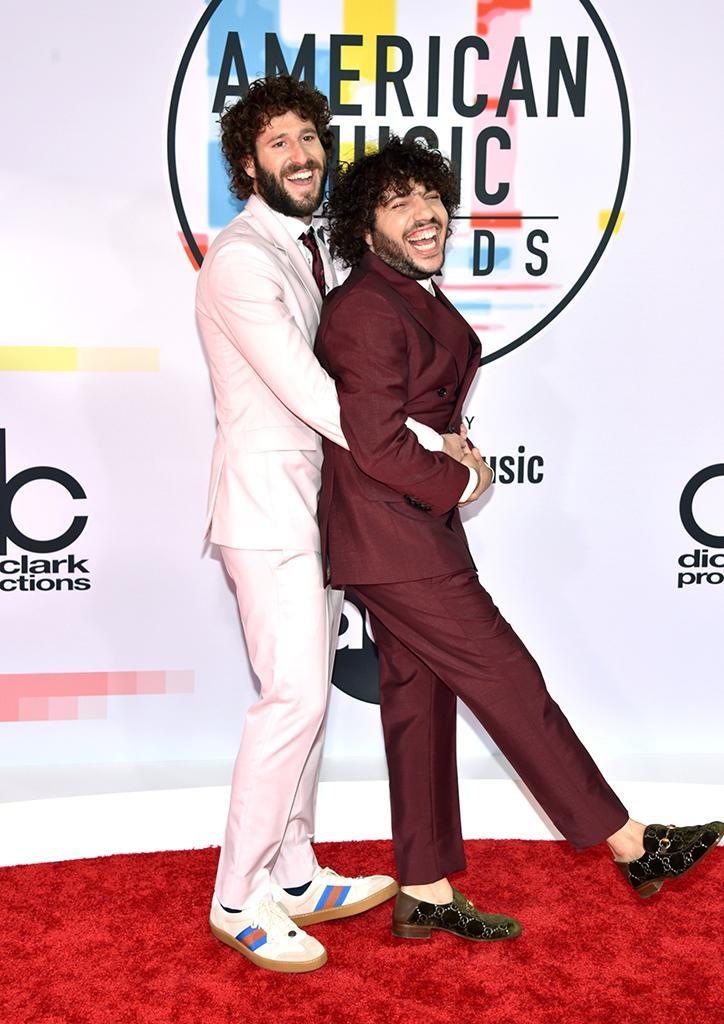 <p>The way rapper Lil Dicky posed with music producer Billy Blanco made for some awesome prom-style snapshots. (Photo: John Shearer/Getty Images For dcp) </p>