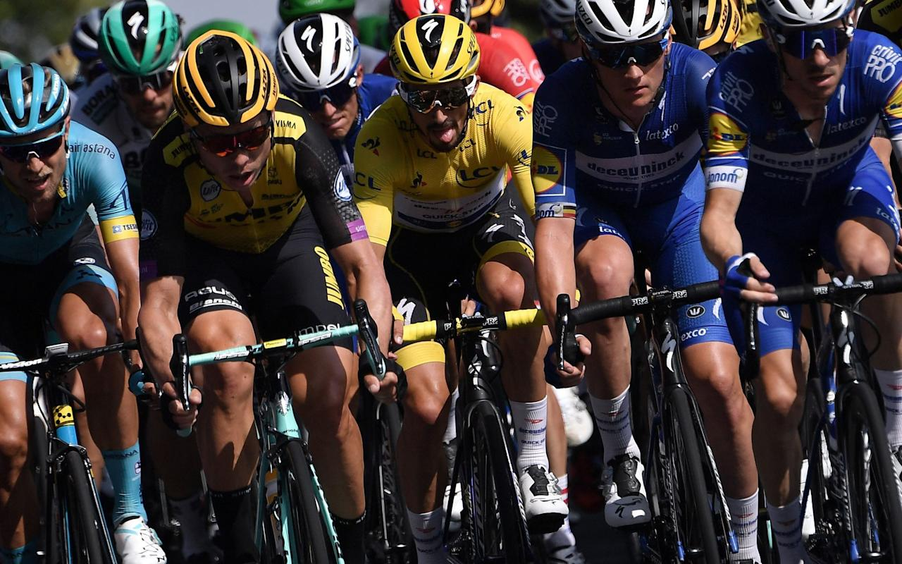 Julian Alaphilippe will once again wear the leader's yellow jersey as the Tour de France enters the Pyrenees - AFP or licensors