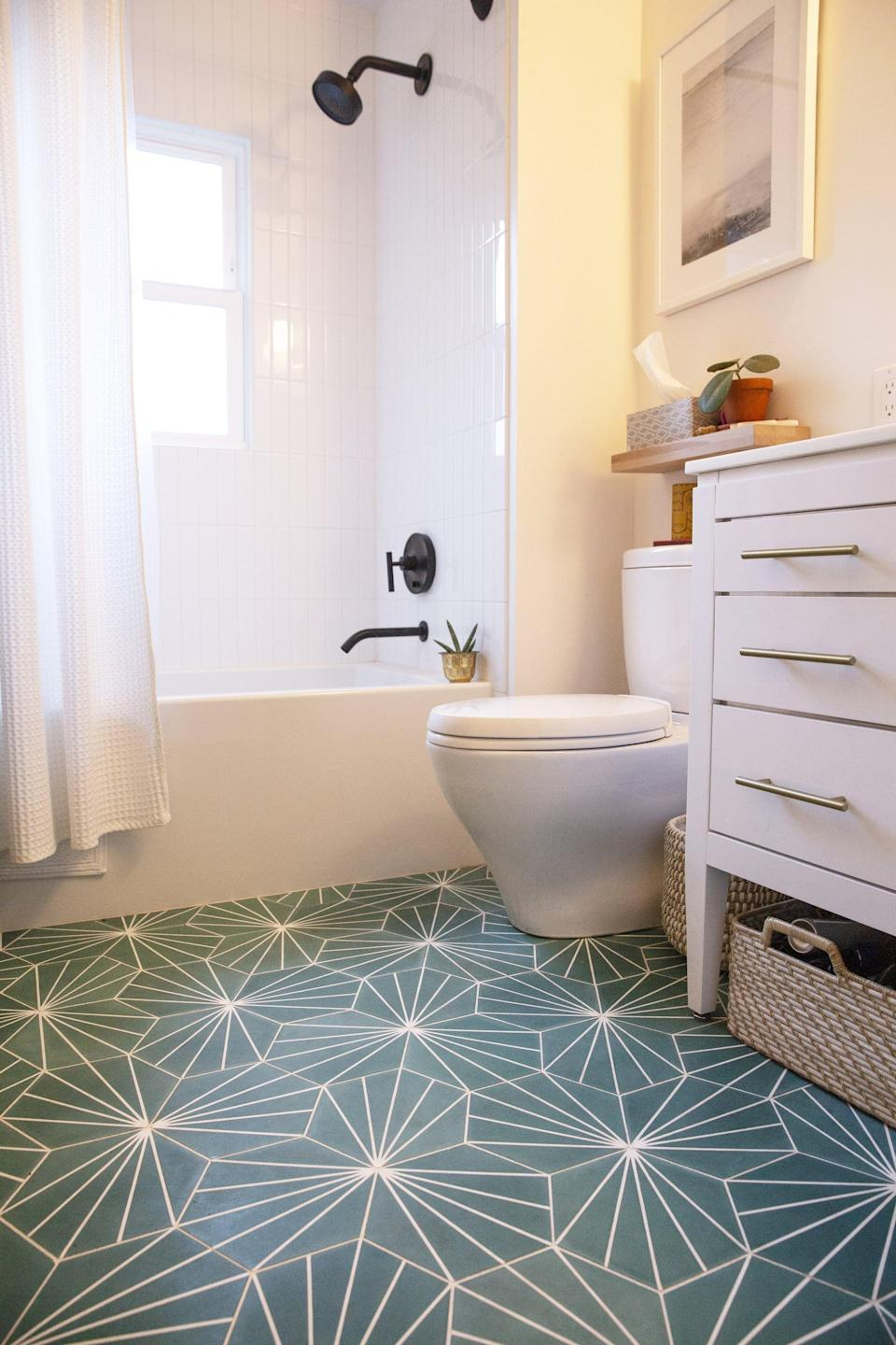 <p>Even if your bathroom came with a shower curtain, buy one that you love. It's one of the fastest, cheapest, and easiest ways to add personality and transform your bathroom, no matter the size.</p>