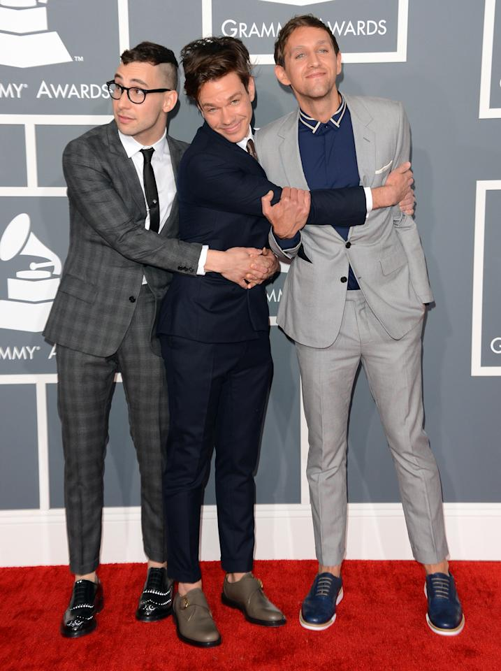 (L-R) Jack Antonoff, Nate Ruess, and Andrew Dost of the band fun. arrive at the 55th Annual GRAMMY Awards at Staples Center on February 10, 2013 in Los Angeles, California.  (Photo by Jason Merritt/Getty Images)