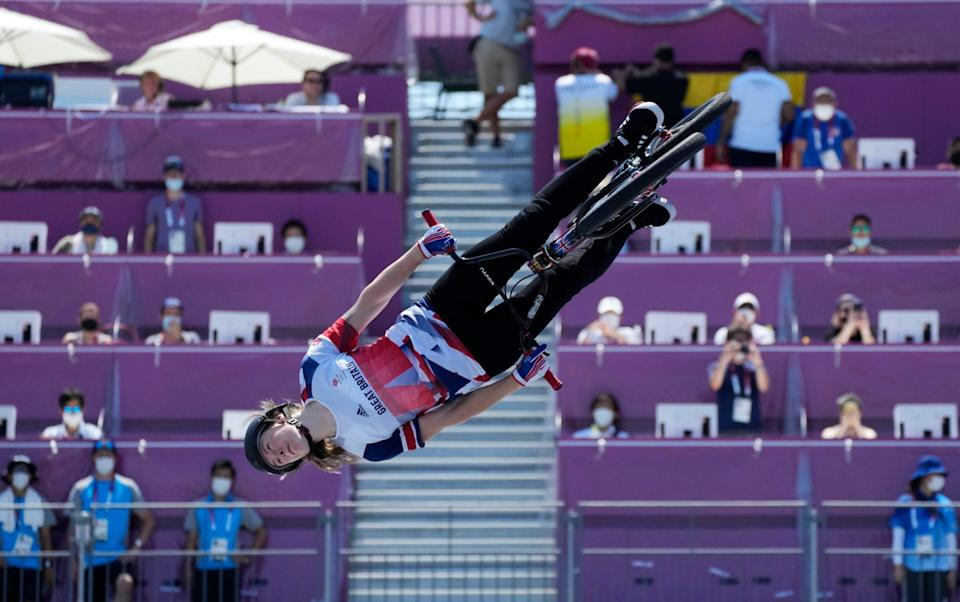 Charlotte Worthington of Britain competes in the women's BMX freestyle final at the 2020 Summer Olympics, Sunday, Aug. 1, 2021, in Tokyo, Japan. - AP