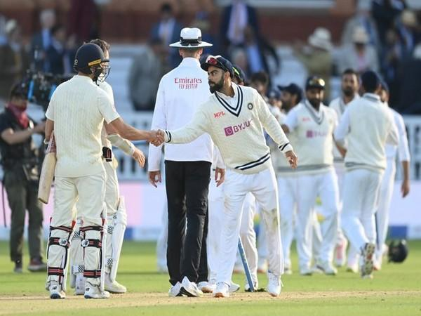 Virat Kohli shakes hands with Mark Wood after Lord's Test win. (Photo/ BCCI Twitter)