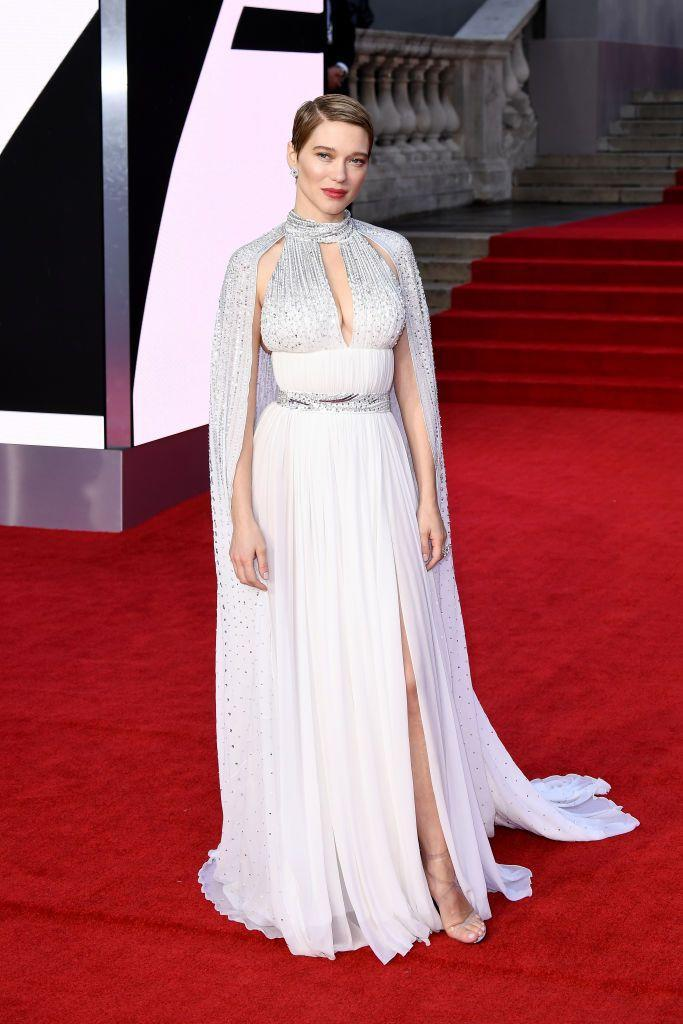 <p>The Bond star wore a custom-made Louis Vuitton dress for the night.</p>
