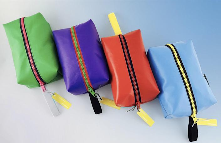 "Not only do these dopp kits come in a fun array of colors, but they're made from upcycled bouncy castles, kites, and gazebo canvases. Talk about a conversation piece. <a href=""https://www.wyattandjack.com/collections/i-was-a-bouncy-castle/products/wash-bag"" rel=""nofollow noopener"" target=""_blank"" data-ylk=""slk:SHOP NOW"" class=""link rapid-noclick-resp"">SHOP NOW</a>: Wash Bag by Wyatt and Jack, $45, wyattandjack.com"