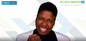 """Vernice """"FlyGirl"""" Armour speaks to graduates at Ultimate Medical Academy's 2020 Virtual Commencement."""