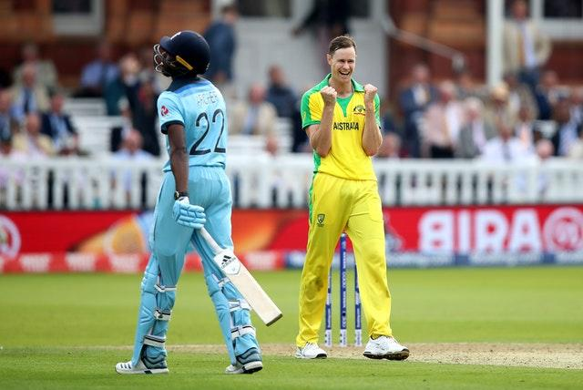 Jason Behrendorff celebrates taking the wicket of Jofra Archer