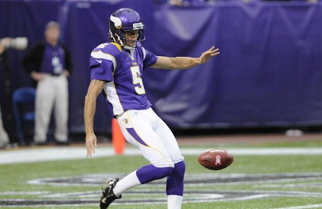 Minnesota Vikings punter Chris Kluwe (5) punts in the first half of an NFL football game in Minneapolis, Sunday, Oct. 21, 2012. (AP Photo/Jim Mone)