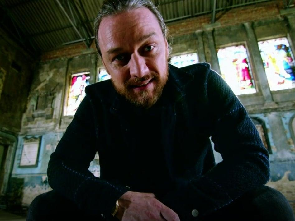James McAvoy during the address to Scottish football fans (ITV)