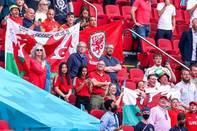 Only a small group of Wales fans were able to watch their side's last-16 match against Denmark in Amsterdam due to coronavirus travel restrictions