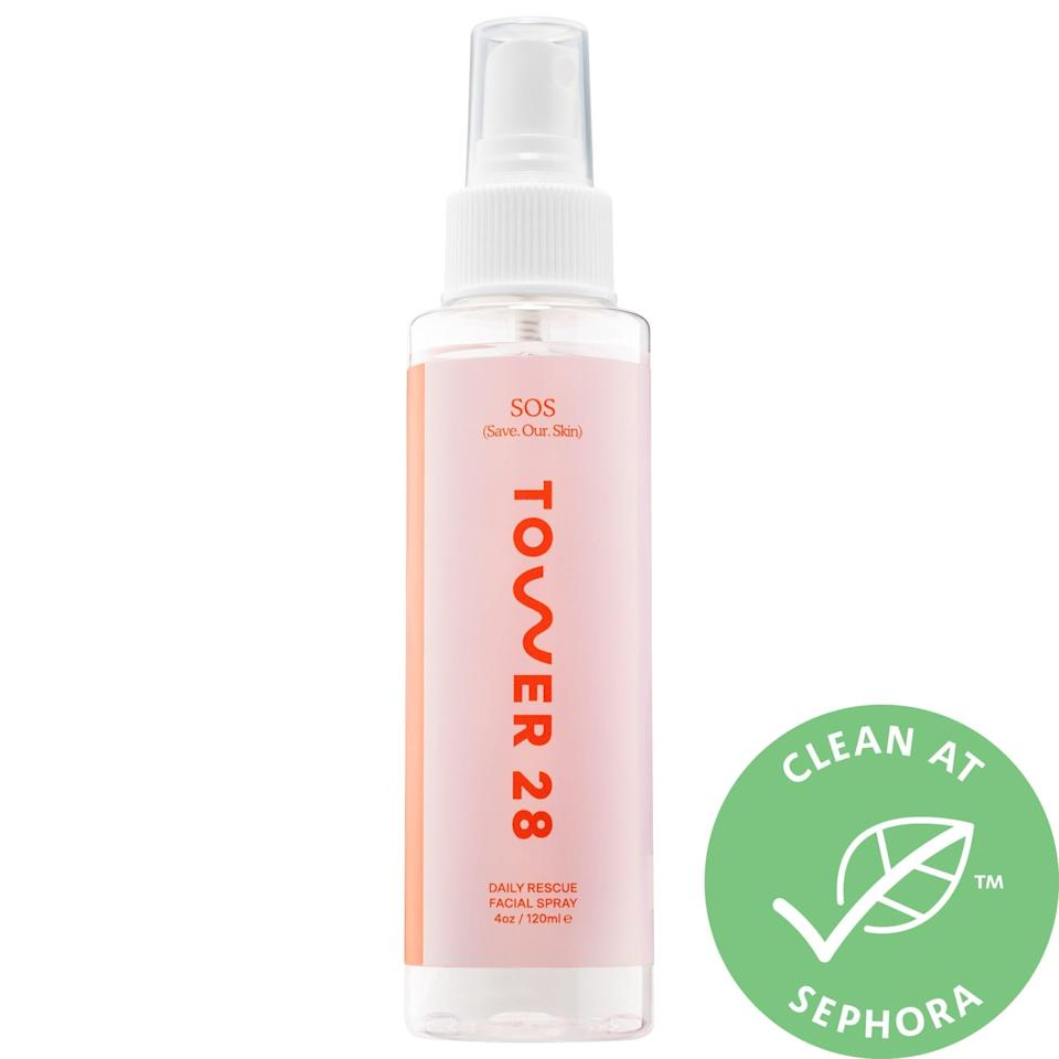 "<h3>Tower 28 SOS Save.Our.Skin Daily Rescue Facial Spray</h3> <br>As a new mama, you may feel like you don't have a ton of extra time to pamper yourself. Luckily, a refreshing face mist can instantly perk up your mood (and skin!) in under three seconds.<br><br><strong>Tower 28 Beauty</strong> SOS Save.Our.Skin Daily Rescue Facial Spray, $, available at <a href=""https://go.skimresources.com/?id=30283X879131&url=https%3A%2F%2Fwww.sephora.com%2Fproduct%2Fsos-save-our-skin-daily-rescue-facial-spray-P448852"" rel=""nofollow noopener"" target=""_blank"" data-ylk=""slk:Sephora"" class=""link rapid-noclick-resp"">Sephora</a><br>"