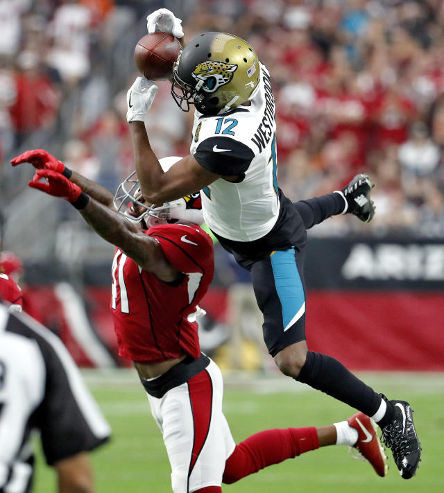 <p>Jacksonville Jaguars wide receiver Dede Westbrook (12) can't make the catch has Arizona Cardinals strong safety Antoine Bethea (41) defends during the first half of an NFL football game, Sunday, Nov. 26, 2017, in Glendale, Ariz. (AP Photo/Rick Scuteri) </p>