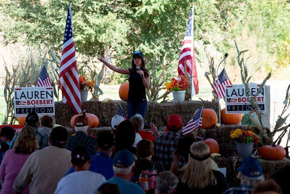 Lauren Boebert, the Republican candidate for the US House of Representatives seat in Colorado's 3rd Congressional District,  holds a rally on 10 October.AFP via Getty Images