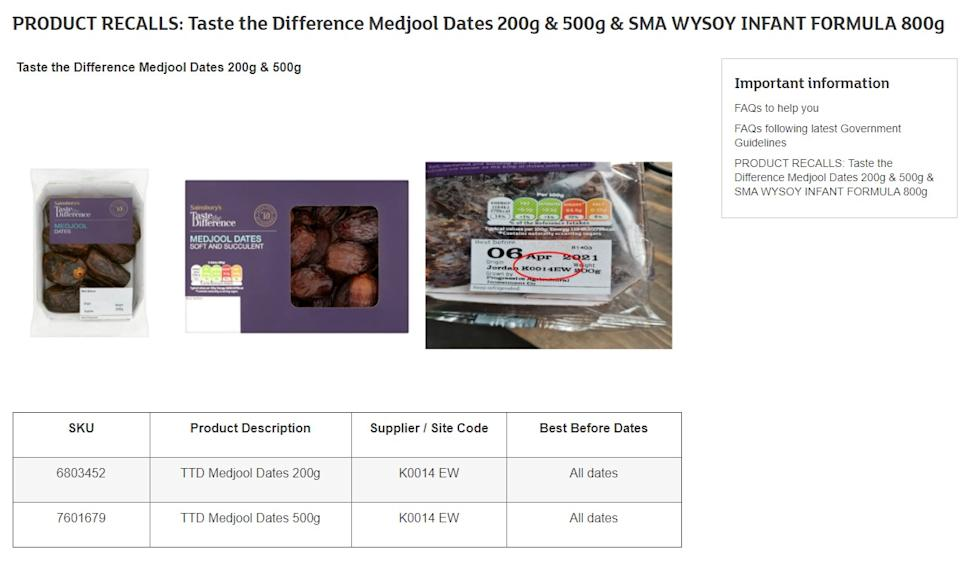 The recall relates to 200g and 500g packs, with supplier or site code of K0014 EW (Sainsbury's)