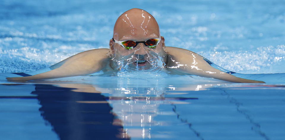 <p>Finland's Matti Mattsson competes in a semi-final of the men's 200m breaststroke swimming event during the Tokyo 2020 Olympic Games at the Tokyo Aquatics Centre in Tokyo on July 28, 2021. (Photo by Odd ANDERSEN / AFP)</p>