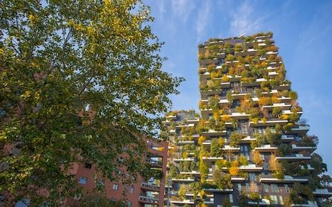 Milan's Bosco Verticale (Vertical Forest), designed by Stefano Boeri, was unveiled in 2014 - Credit: AP