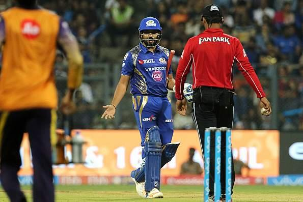 Rohit Sharma gestured angrily at umpire CK Nandan after being wrongly adjudged out LBW in the match against Kolkata Knight Riders