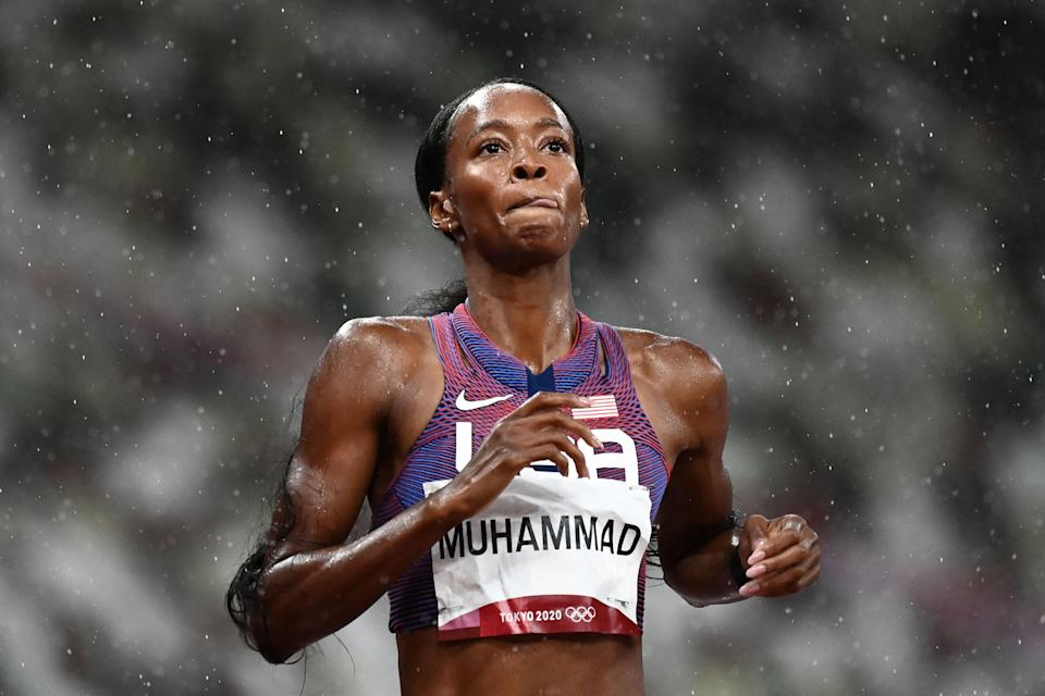 USA's Dalilah Muhammad wins the women's 400m hurdles semi-finals during the Tokyo 2020 Olympic Games at the Olympic stadium in Tokyo on August 2, 2021. (Photo by Jewel SAMAD / AFP) (Photo by JEWEL SAMAD/AFP via Getty Images)