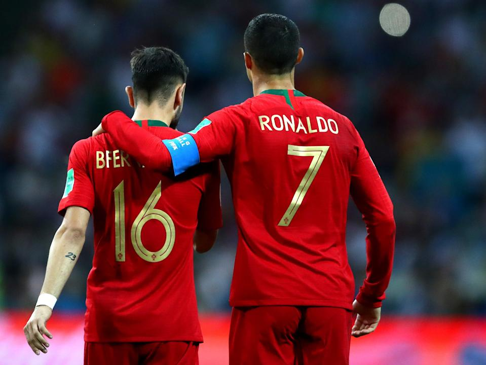 Portugal team-mates Bruno Fernandes and Cristiano Ronaldo (Getty Images)