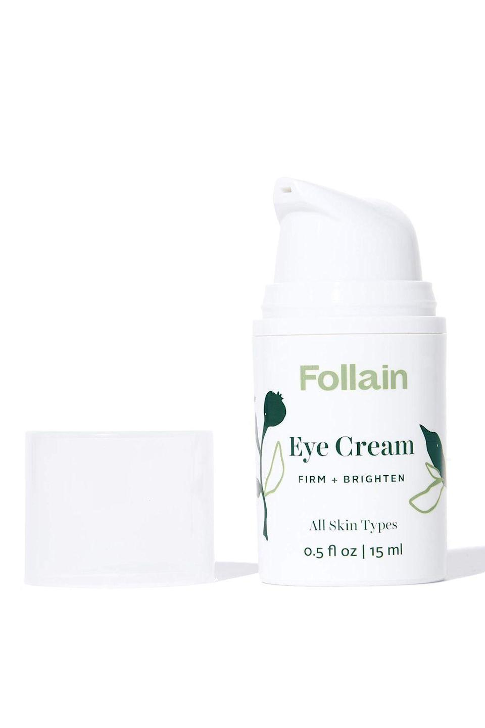 """<p><strong>Follain</strong></p><p>ulta.com</p><p><strong>$36.00</strong></p><p><a href=""""https://go.redirectingat.com?id=74968X1596630&url=https%3A%2F%2Fwww.ulta.com%2Feye-cream-firm-brighten%3FproductId%3Dpimprod2013709&sref=https%3A%2F%2Fwww.cosmopolitan.com%2Fstyle-beauty%2Fbeauty%2Fg32869915%2Fbest-retinol-eye-cream%2F"""" rel=""""nofollow noopener"""" target=""""_blank"""" data-ylk=""""slk:Shop Now"""" class=""""link rapid-noclick-resp"""">Shop Now</a></p><p>Just because this retinol eye cream is natural doesn't mean it's any less powerful than other options on the list. The hero ingredient is actually <a href=""""https://www.cosmopolitan.com/style-beauty/beauty/a28831632/bakuchiol-retinol-alternative-skin-products/"""" rel=""""nofollow noopener"""" target=""""_blank"""" data-ylk=""""slk:bakuchiol"""" class=""""link rapid-noclick-resp"""">bakuchiol</a>—a natural, plant-based ingredient that <strong>treats skin to the the same smoothing and glow-boosting benefits as retinol.</strong></p>"""