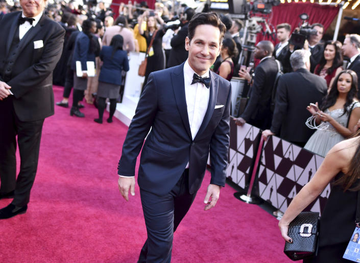 FILE - Paul Rudd arrives at the Oscars on Feb. 24, 2019, in Los Angeles. Rudd turns 52 on April 6. (Photo by Charles Sykes/Invision/AP, File)