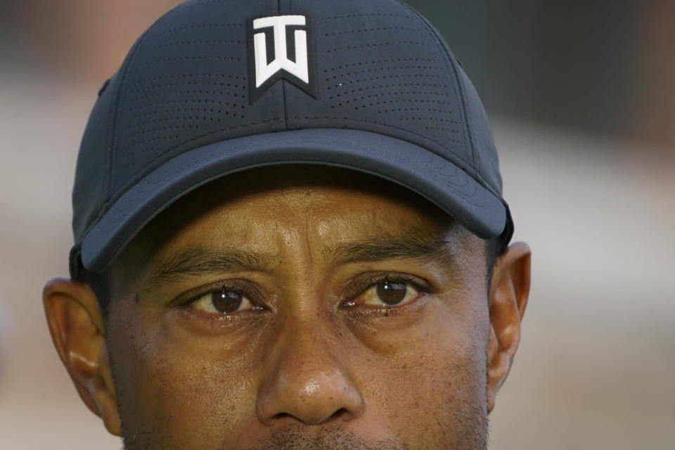 Tiger Woods is interviewed during practices before the U.S. Open Championship golf tournament at Winged Foot Golf Club, Tuesday, Sept. 15, 2020, in Mamaroneck, N.Y. (AP Photo/John Minchillo)