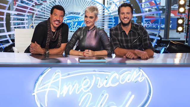 <em>American Idol</em> got off to an early start during the American Music Awards' live broadcast Sunday night (Nov. 19), as the public was given a rare opportunity to override the judges panel and award one of three hopefuls a golden ticket to Hollywood. Shown here are the next <em>American Idol</em> judges: Lionel Richie, left, Katy Perry, and Luke Bryan. (Photo: ABC)