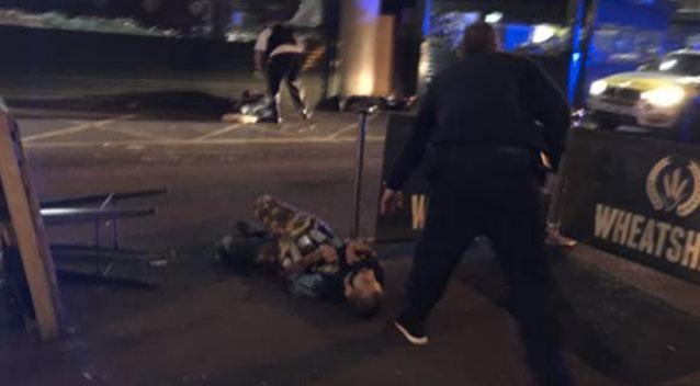 An image posted to social media appeared to show a man with canisters strapped to his body after the London attacks Sunday. Photo: Supplied