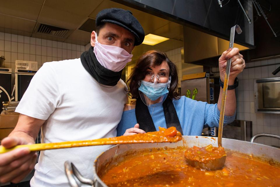 <p>Head Judge on BBC One's Strictly Come Dancing Shirley Ballas and her partner Danny Taylor prepare and distribute food in conjunction with charities, the Felix Project and With Compassion to deliver food to those in need across London as part of our Food For London Now appeal</p> (Lucy Young)