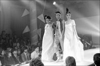 <p>Models on the runway at Vivienne Westwood's fall 1981 fashion show.</p>