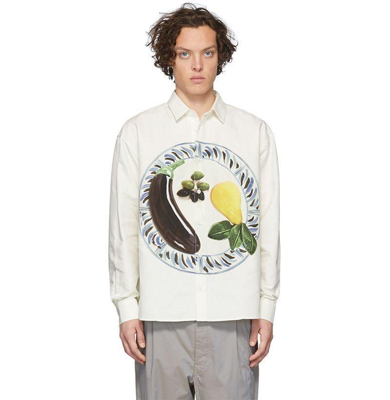 """<p><strong>Jacquemus</strong></p><p>ssense.com</p><p><strong>$255.00</strong></p><p><a href=""""https://go.redirectingat.com?id=74968X1596630&url=https%3A%2F%2Fwww.ssense.com%2Fen-us%2Fmen%2Fproduct%2Fjacquemus%2Foff-white-la-chemise-henri-shirt%2F4863741&sref=https%3A%2F%2Fwww.esquire.com%2Fstyle%2Fmens-fashion%2Fg33418169%2Fbest-mens-linen-shirts%2F"""" rel=""""nofollow noopener"""" target=""""_blank"""" data-ylk=""""slk:Buy"""" class=""""link rapid-noclick-resp"""">Buy</a></p><p>Jacquemus is French so the brand can <em>just</em> pull off questionable things like calling its shirts """"chemises"""" and then superimposing images of produce on top of 'em. </p>"""