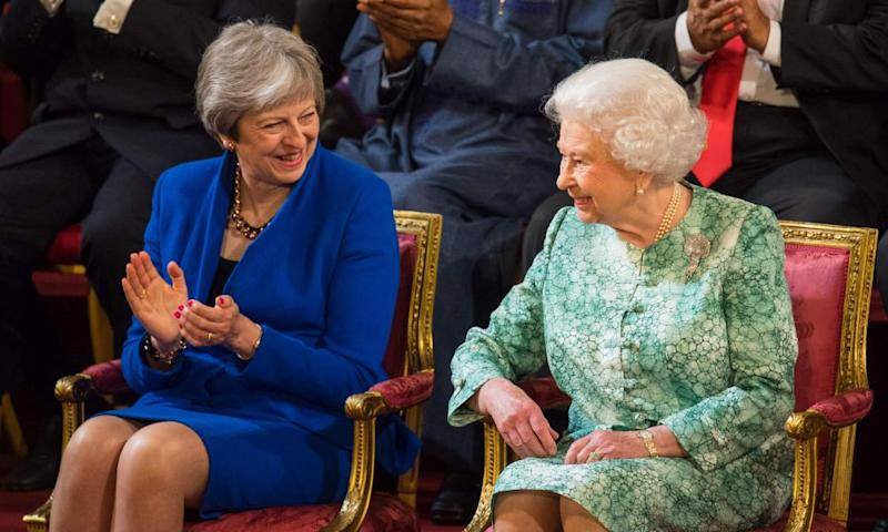 Theresa May with Queen Elizabeth II