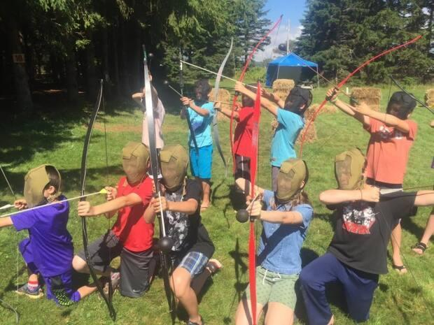 Families can participate in archery tag at Camp Seggie.