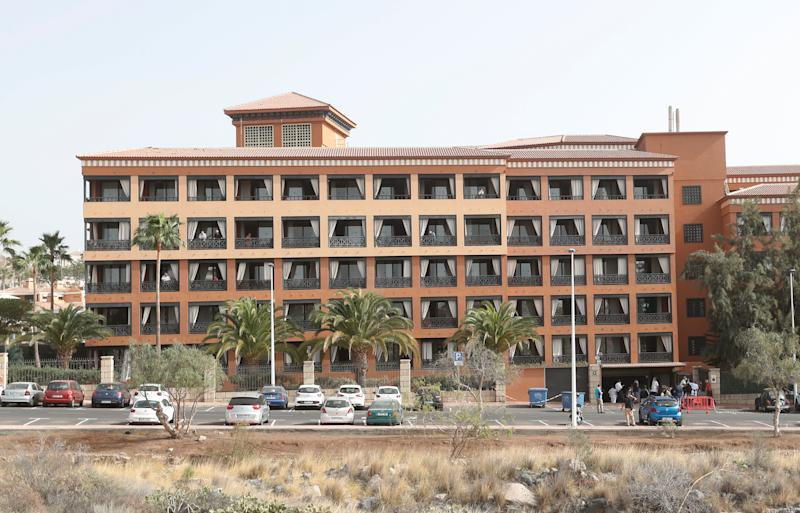 General view of H10 Hotel, which is on lockdown after novel coronavirus has been confirmed in Adeje, on the Spanish island of Tenerife, Spain.