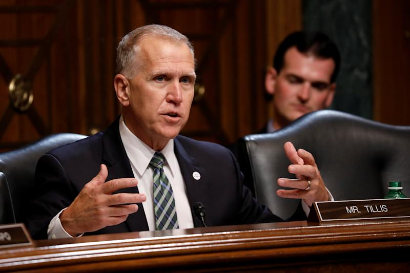 "U.S. Senator Thom Tillis (R-NC) asks a question as U.S. Attorney General William Barr testifies before a Senate Judiciary Committee hearing entitled ""The Justice Department's Investigation of Russian Interference with the 2016 Presidential Election"" on Capitol Hill in Washington, D.C., U.S., May 1, 2019. REUTERS/Aaron P. Bernstein"