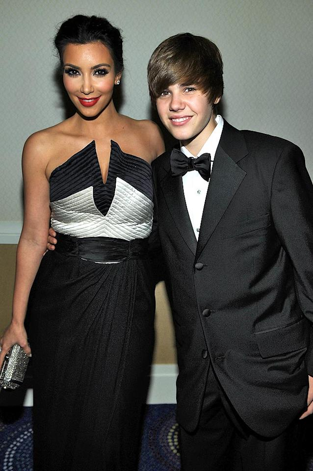 """They might seem an unlikely duo, but the curvaceous Kim Kardasian and teen dream Justin Bieber became fast friends when they met at the White House Correspondents' Dinner in May. Since then, they've posed for a photo shoot and met up for frozen yogurt. Larry Busacca/<a href=""""http://www.gettyimages.com/"""" target=""""new"""">GettyImages.com</a> - May 1, 2010"""