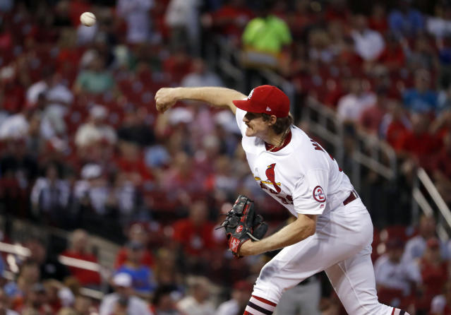 St. Louis Cardinals starting pitcher Miles Mikolas throws during the first inning of a baseball game against the Pittsburgh Pirates Tuesday, Sept. 11, 2018, in St. Louis. (AP Photo/Jeff Roberson)