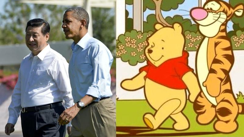 Xi Jinping, Barack Obama y personajes de Winnie the Pooh