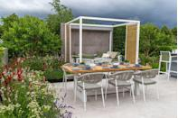 """<p>Lower Barn Farm: The Bounce Back Garden centres around relaxation, entertaining and outdoor dining. The main focal point is an outdoor kitchen and dining table for six. A bespoke pergola covers a cosy reading nook and the garden optimises low-maintenance materials to make sure the upkeep is relaxed too. <br></p><p>Designed by: <a href=""""https://consiliumhortus.co.uk/"""" rel=""""nofollow noopener"""" target=""""_blank"""" data-ylk=""""slk:Samuel Moore"""" class=""""link rapid-noclick-resp""""><strong>Samuel Moore</strong></a>   Built by: <a href=""""https://www.ashworthlandscapes.co.uk/"""" rel=""""nofollow noopener"""" target=""""_blank"""" data-ylk=""""slk:Ashworth Specialist Landscapes"""" class=""""link rapid-noclick-resp""""><strong>Ashworth Specialist Landscapes</strong></a>   Sponsored by: <a href=""""https://www.lowerbarnfarm.co.uk/"""" rel=""""nofollow noopener"""" target=""""_blank"""" data-ylk=""""slk:Lower Barn Farm"""" class=""""link rapid-noclick-resp""""><strong>Lower Barn Farm</strong></a><br></p><p><a class=""""link rapid-noclick-resp"""" href=""""https://go.redirectingat.com?id=127X1599956&url=https%3A%2F%2Fwww.rhs.org.uk%2Fshows-events%2Frhs-hampton-court-palace-garden-festival%2Fgardens%2F2021%2Flower-barn-farm-the-bounce-back-garden&sref=https%3A%2F%2Fwww.countryliving.com%2Fuk%2Fhomes-interiors%2Fgardens%2Fg36911790%2Fmedal-winning-gardens-rhs-hampton-court-garden-festival-2021%2F"""" rel=""""nofollow noopener"""" target=""""_blank"""" data-ylk=""""slk:READ MORE"""">READ MORE</a></p>"""