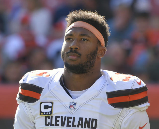 Browns defensive end Myles Garrett thinks that Cam Newton is not playing at his best. (AP Photo/David Richard, File)