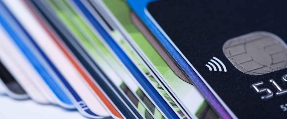 Close up of pile of credit cards