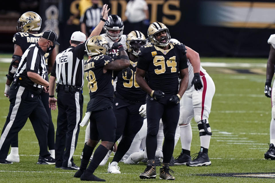 New Orleans Saints defensive end Cameron Jordan (94) reacts after sacking Atlanta Falcons quarterback Matt Ryan, pushing the Falcons out of field goal range, in the first half of an NFL football game in New Orleans, Sunday, Nov. 22, 2020. (AP Photo/Butch Dill)
