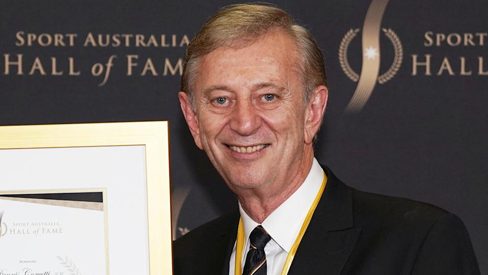 Dennis Cometti is pictured after being inducted into the Sport Australia Hall of Fame.